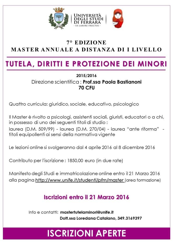 Master in tutela, diritti e protezione dei minori